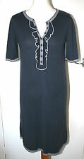 PHASE EIGHT UK10 EU38 NAVY/WHITE SHORT SLEEVED KNITTED JUMPER DRESS - UNLINED