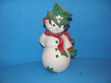 "VINTAGE 11"" HOLIDAY SNOWMAN  TOP HAT AND SCARF SPRAYED WITH GLITTER THROUGHOUT"