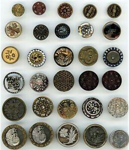 29 Vintage Metal Buttons: Cut Steel, Pewter, Perfume, Cutout, Paris, etc.
