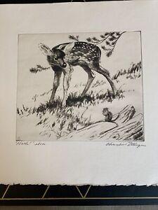 "Original Lmt Edition Churchill Ettinger Signed Art Etching Titled ""Hello!"""