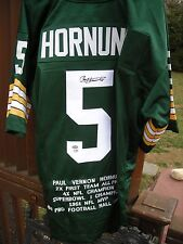 PAUL HORNUNG SIGNED STAT JERSEY PSA CERT #X13512 GREEN BAY PACKER LEGEND HOF