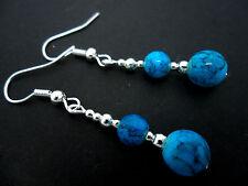 Un par de Azul Turquesa jaspeado Bolas De Cristal Colgantes Pendientes. Nuevo.