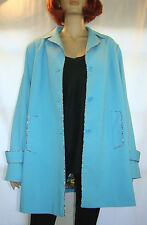 Dialogue Women's Size 16 Jacket Pockets Long Sleeves Floral Lining Blue Coat