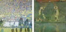 Wand Bild Gustav Klimt Landschaften Gewässer See Malerei Grün 39x39x1,2 cm A0TS