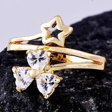 Womens Ring Size 8 Free Shipping Yellow Gold Filled Heart Cubic Zirconia