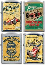 Zippo Old School 1950's Vintage Race Club Posters 4 Lighter Set Street Chrome
