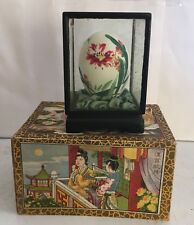Vintage Chinese Hand Painted Egg on Stand in Glass Display Case Collectible