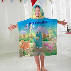 Kids Personalised Hooded Towel Poncho Dinosaur Childrens Bathrobe Swim Bath Sun