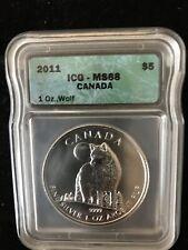 Canada Wolf  2011 Ich MS 68 1 Oz Silver. $5