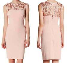 Marina PLUS Rose Pink Gold Sequins Blu-son Short Sleeves Mesh Long Dress NEW