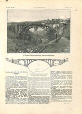 Pont du Luxembourg Vallée de la Pétrusse/Cosaques Mandchourie Chine GRAVURE 1901