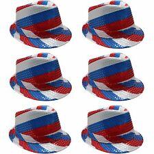 UK Union Jack British Nation Flag Sequin Trilby Hat - United Kingdom (6 Pack)