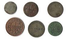 Altdeutschland Lot 6 alte Münzen Belegstücke Kupfer & Silber - Pfennig & Kreuzer