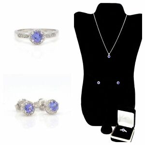 New Certified 1.82 CTW TANZANITE TOPAZ Matching Ring, Necklace and Earrings Set