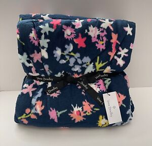 "Vera Bradley Plush Throw Blanket Scattered Wildflowers Oversized 80"" x 50"" NWT"