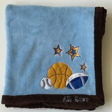 SL Home Fashions RN 119741 All Stars Sports Blue Baby Blanket Basketball