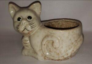 """Kitten Glazed Lt Brown Ceramic Flower Pot Planter 9"""" x 6"""" x 5"""" Cat Lover Gift"""