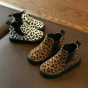 Children Kids Baby Girls Boys Leopard Print Winter Warm Short Boots Casual Shoes