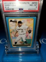 PSA 8 MINT~2012 Bowman Gerrit Cole #BP86 1st BowmanRC Yanks BLUE #339/500~POP2🔥
