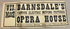 Antique BARNSDALE'S FAMOUS ELECTRIC MOVING PICTURES Movie Poster c. 1900
