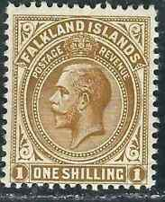 Falkland Is Stamps 35a SG 65a 1S/- Pale Bister MVLH F/VF 1919 SCV $100.00