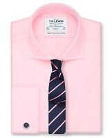 T.M.Lewin Pink Twill Cutaway Collar Slim Fit Shirt