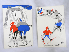 Pair of Vintage Dag Skicraft Post Cards / Post Card - Unused