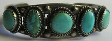 VINTAGE NAVAJO INDIAN SILVER GREEN & BLUE TURQUOISE CUFF BRACELET