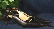Stunning Black  Pointed Toe AMALFI  Italy Slingback Kitten Heel Pumps 8.5 C