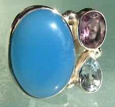 Sterling silver chunky chalcedony cocktail ring UK O/US 7.25-7.5