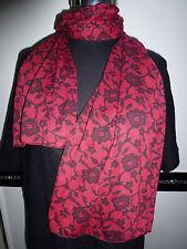 Damen Tuch Schal rot schwarz Blumen Muster 160 x 32 - NEU