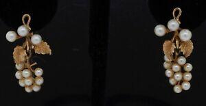 Antique 14K yellow gold pearl grape bunch dangle earrings w/ screw back posts