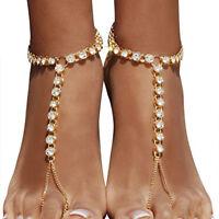 Barefoot Beach Sandals Bridal Wedding Rhinestone Anklet Foot Chain Jewelry QK