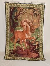"""Vintage A.T.C. 100% Cotton Unicorn Wall Tapestry 33 ½"""" x 48 ½"""""""