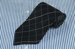 Altea Men's Tie Charcoal Gray & Gold Geometric Woven Silk Necktie 59 x 3.75 in.