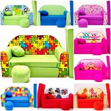 KIDS SOFA BED BEDS CHILDREN FURNITURE + FREE FOOTSTOOL & CUSHION GIFT PRESENT