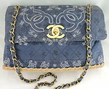 AUTHENTIC CHANEL BAG FLAP ESPADRILLE DENIM/CANVAS GOLD CHAIN RARE CC LOGO LARGE