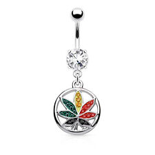Multi Color Pot Leaf CZ Dangle 316L Surgical Steel Navel Belly Button Ring 14g