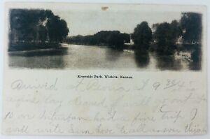 Vintage Wichita Kansas KS Riverside Park Postcard Undivided Back
