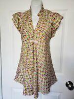 Diane Von Furstenberg Womens Kayette Top Blouse Stretch Silk size M