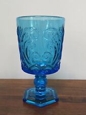 Vintage Imperial Glass Antique Blue Pressed Glass Scroll Water Goblet