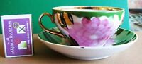 Vintage DULEVO Russia USSR Soviet Tea Coffee cup Saucer PINK Green Flowers Gold
