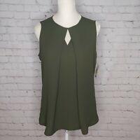 Bar III Womens Army Green Sleeveless Flowy VNeck Top Size Medium NWT $59