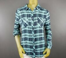 Vanity Button Down Plaid Multi-Color Medium Shirt Lace See Through Back A6
