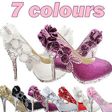 7color Vogue lace Flowers Crystal High Heels Wedding Bridal Shoes