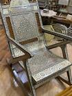 Antique, Rocking Chair, Inlaid Mother Of Pearl, Handmade Wood Chair, Wedding Gif