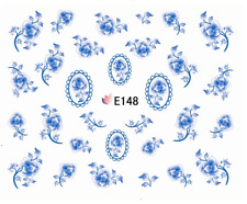 Nail Art 3D Decals Transfers Stickers Blue Flowers (E148)