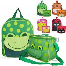 Kids Backpack & Insulated Lunch Sandwich Bag Set - Boys Girls School Cute Animal