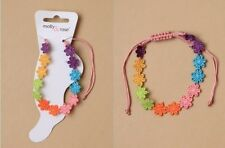 Bright coloured embroidered daisy chain pink corded ankle - JTY499