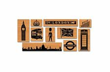 Cavallini VINTAGE LONDON ENGLAND UK 10 STAMPS Assorted Wooden Rubber Stamp + Tin